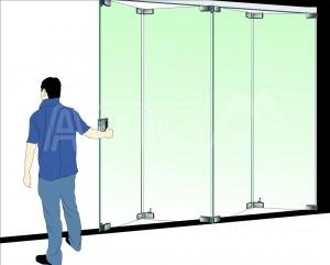 cửa vách kính xếp trượt