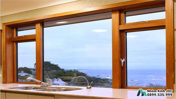 Cửa Sổ Nhôm Cầu Cách Nhiệt Vân Gỗ Sang Trọng Cho Các Phòng Bếp - Nhôm Kính JSC Đã Thi Công